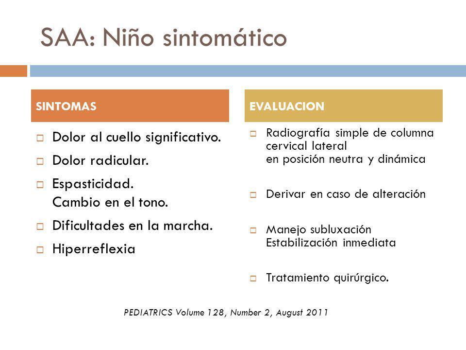 SAA: Niño sintomático Dolor al cuello significativo. Dolor radicular. Espasticidad. Cambio en el tono. Dificultades en la marcha. Hiperreflexia Radiog