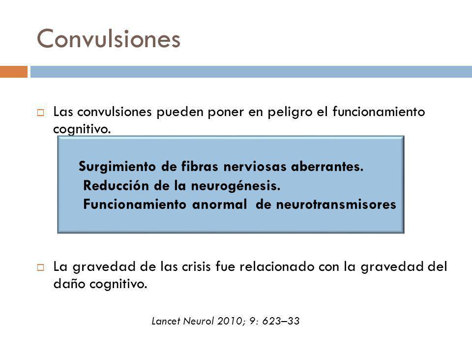 Convulsiones Las convulsiones pueden poner en peligro el funcionamiento cognitivo. La gravedad de las crisis fue relacionado con la gravedad del daño