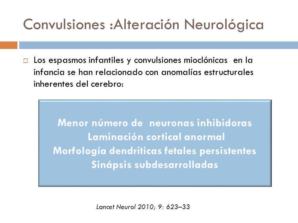 Convulsiones :Alteración Neurológica Los espasmos infantiles y convulsiones mioclónicas en la infancia se han relacionado con anomalías estructurales