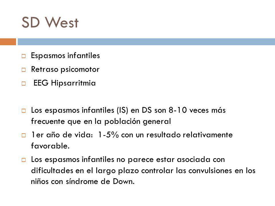 SD West Espasmos infantiles Retraso psicomotor EEG Hipsarritmia Los espasmos infantiles (IS) en DS son 8-10 veces más frecuente que en la población ge