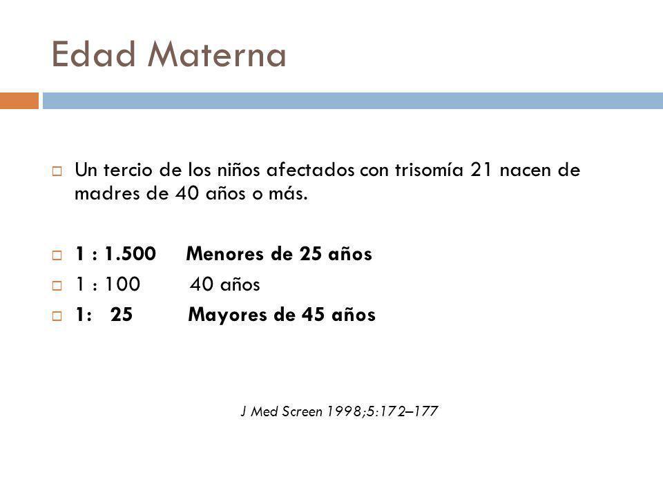 Edad Materna Un tercio de los niños afectados con trisomía 21 nacen de madres de 40 años o más. 1 : 1.500 Menores de 25 años 1 : 100 40 años 1: 25 May