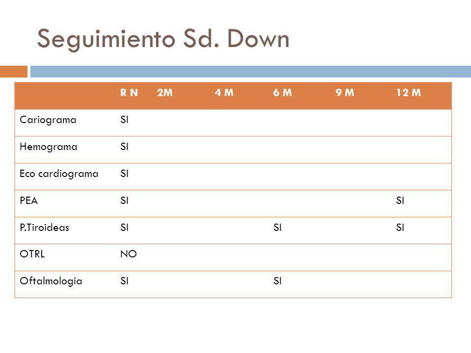 Seguimiento Sd. Down R N2M4 M6 M9 M12 M CariogramaSI HemogramaSI Eco cardiogramaSI PEASI P.TiroideasSI OTRLNO OftalmologíaSI