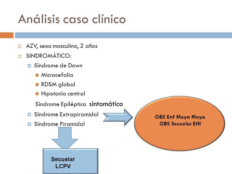 Análisis caso clínico AZV, sexo masculino, 2 años SINDROMÁTICO: Síndrome de Down Microcefalia RDSM global Hipotonía central Síndrome Epiléptico sintom