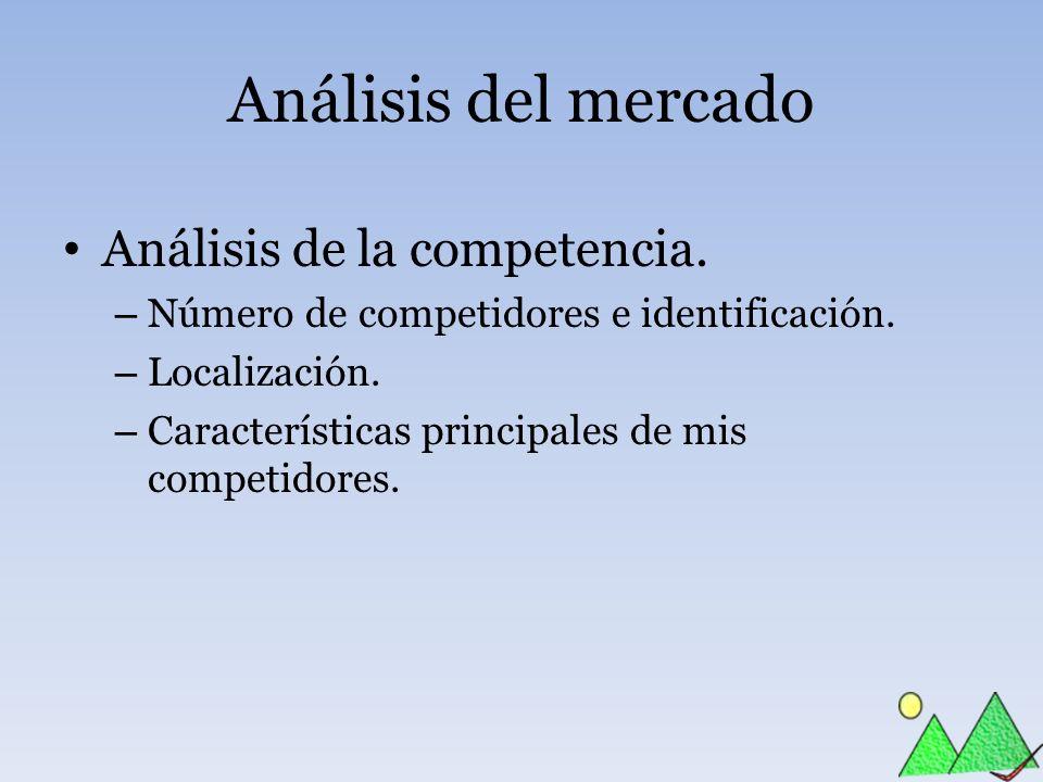 Análisis del mercado Análisis de la competencia. – Número de competidores e identificación. – Localización. – Características principales de mis compe