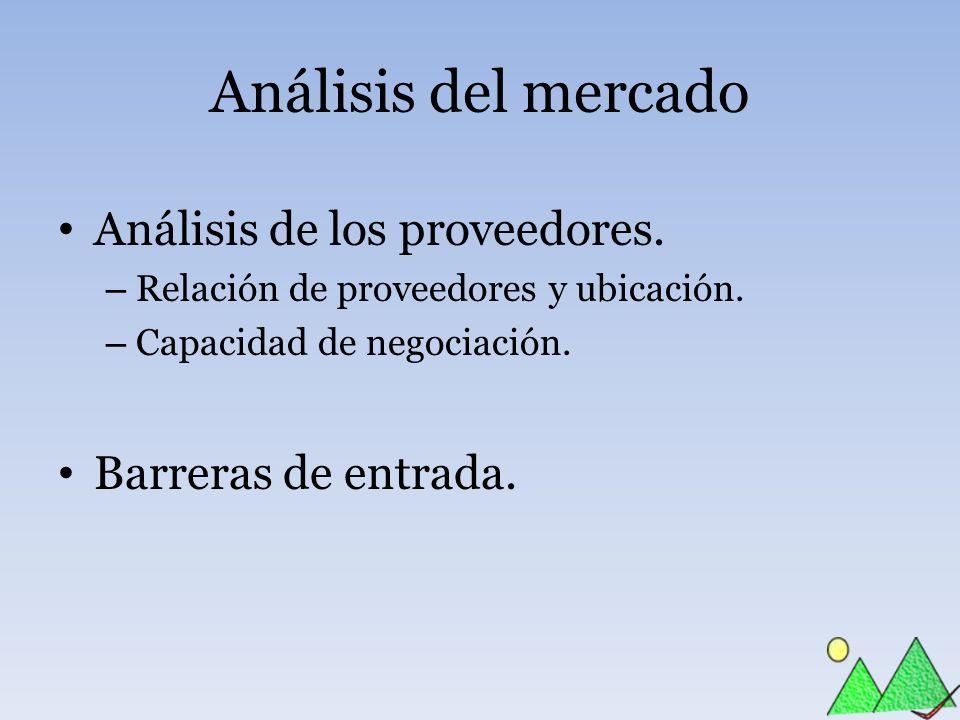 Análisis del mercado Análisis de los proveedores. – Relación de proveedores y ubicación. – Capacidad de negociación. Barreras de entrada.
