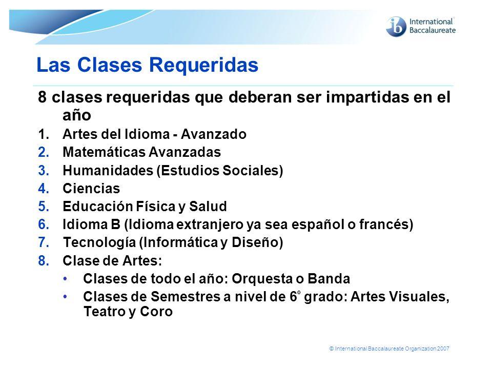 © International Baccalaureate Organization 2007 Las Clases Requeridas 8 clases requeridas que deberan ser impartidas en el año 1.Artes del Idioma - Av