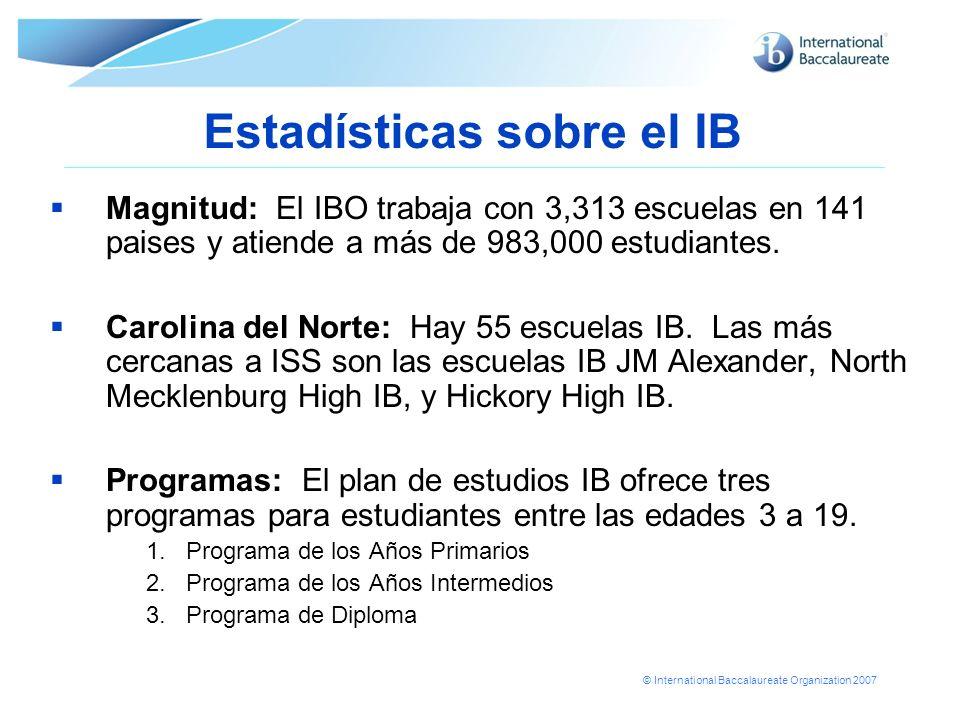 © International Baccalaureate Organization 2007 Estadísticas sobre el IB Magnitud: El IBO trabaja con 3,313 escuelas en 141 paises y atiende a más de
