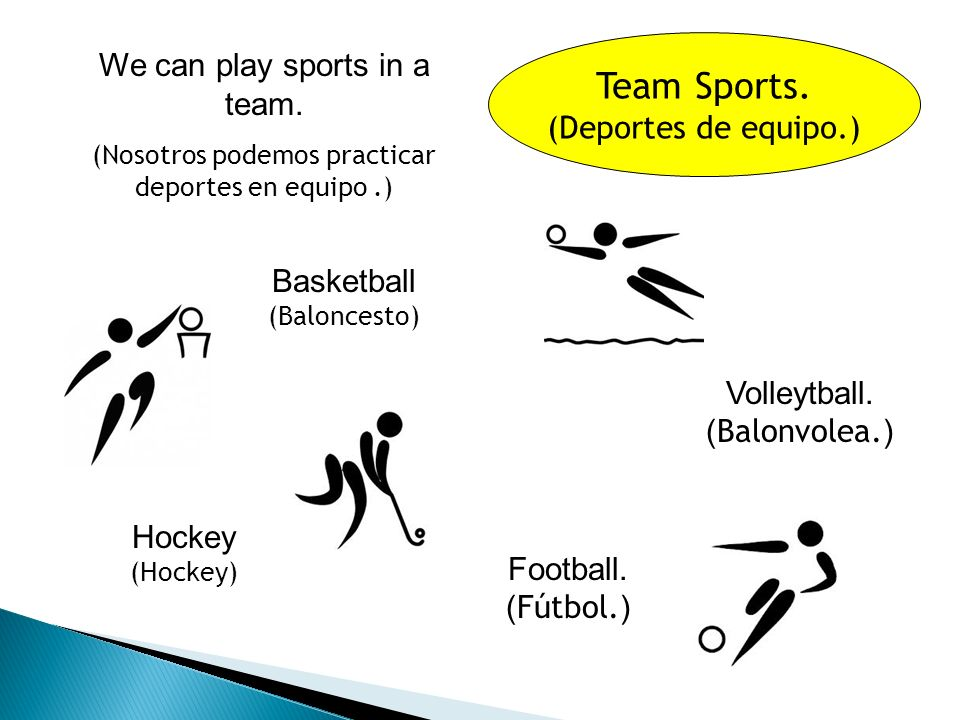 Sports. (Deportes.) Swimming. ( Natación.) Hockey.
