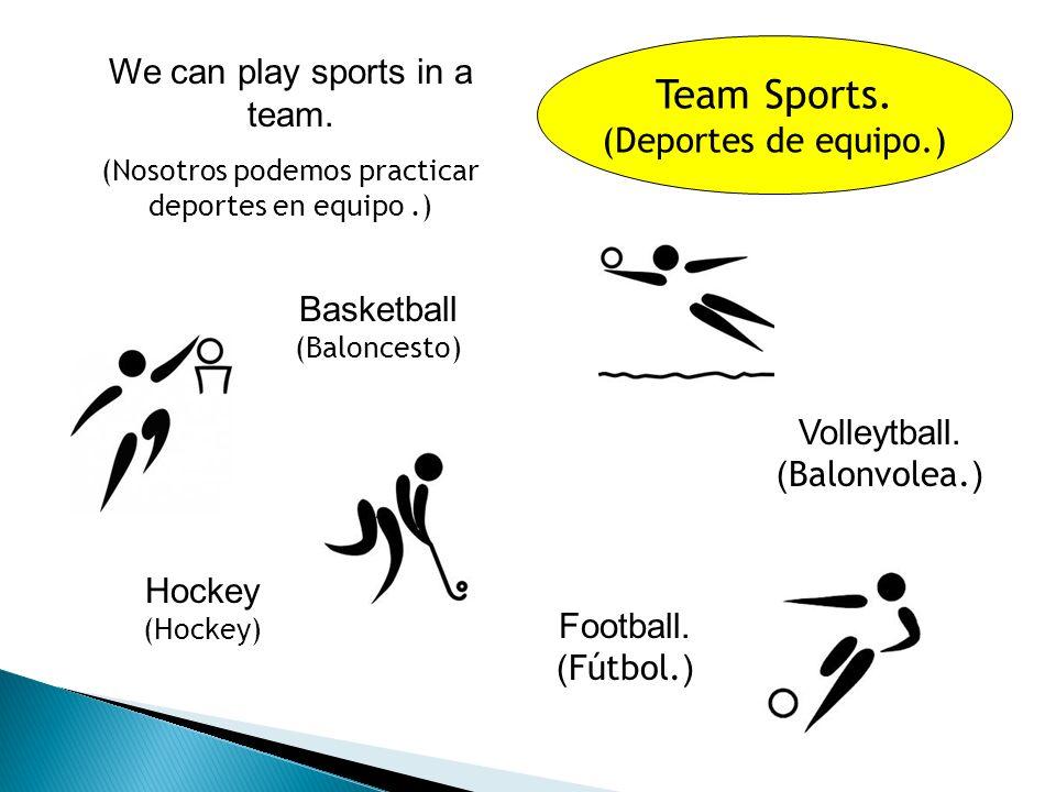 Sports.(Deportes.) Swimming. ( Natación.) Hockey.