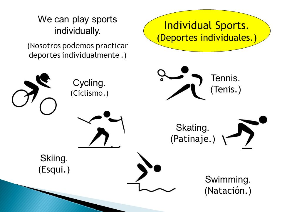 Team Sports. (Deportes de equipo.) We can play sports in a team.