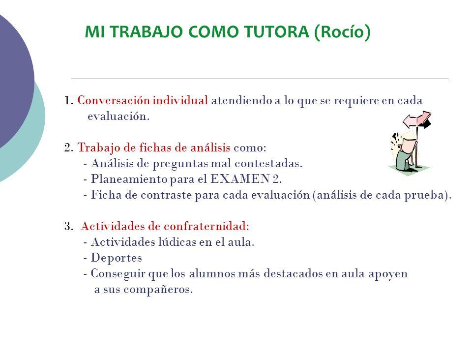 MI TRABAJO COMO TUTORA (Rocío) Compañía y guía porque es necesario informar a cada alumno de su avance y proponer que trabajen más determinados cursos