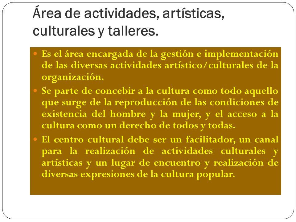 Área de actividades, artísticas, culturales y talleres. Es el área encargada de la gestión e implementación de las diversas actividades artístico/cult