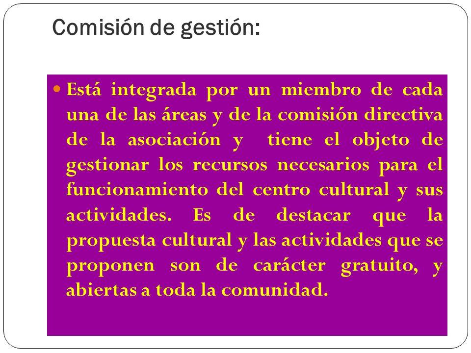 Comisión de gestión: Está integrada por un miembro de cada una de las áreas y de la comisión directiva de la asociación y tiene el objeto de gestionar