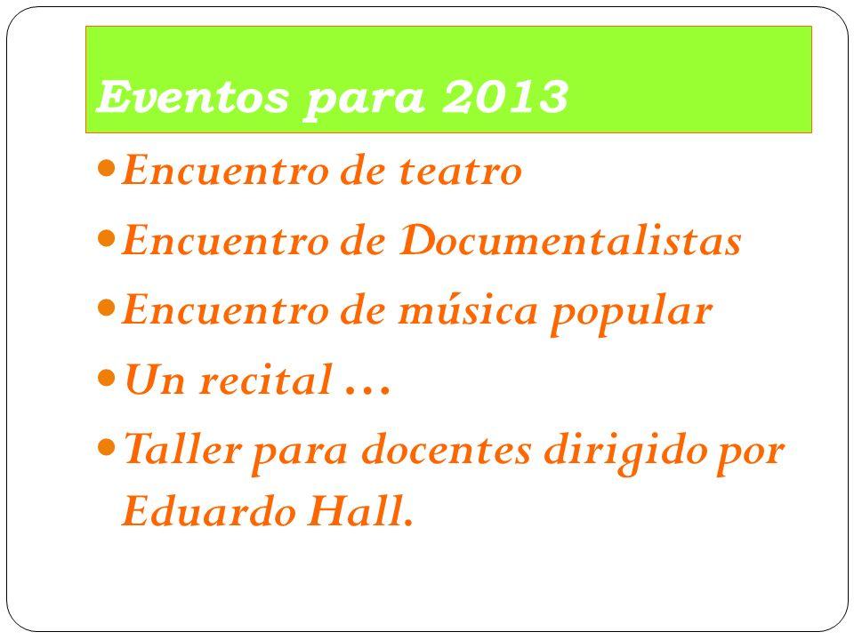 Eventos para 2013 Encuentro de teatro Encuentro de Documentalistas Encuentro de música popular Un recital … Taller para docentes dirigido por Eduardo