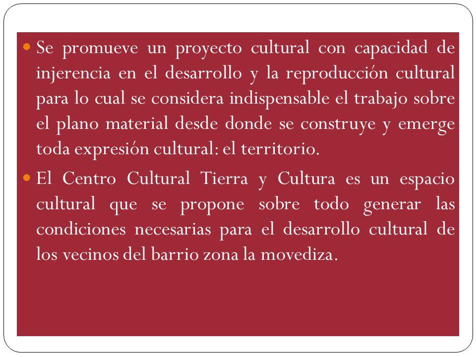 Se promueve un proyecto cultural con capacidad de injerencia en el desarrollo y la reproducción cultural para lo cual se considera indispensable el tr