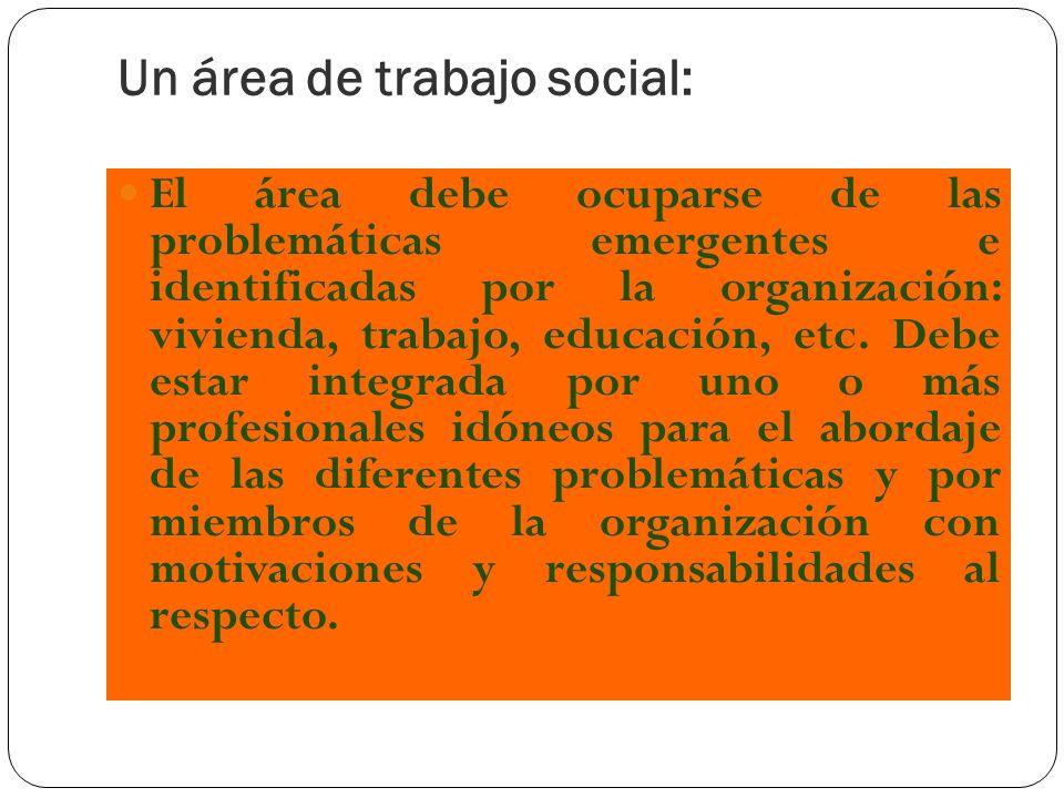 Un área de trabajo social: El área debe ocuparse de las problemáticas emergentes e identificadas por la organización: vivienda, trabajo, educación, et