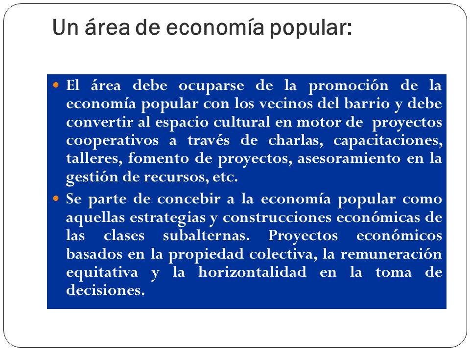 Un área de economía popular: El área debe ocuparse de la promoción de la economía popular con los vecinos del barrio y debe convertir al espacio cultu