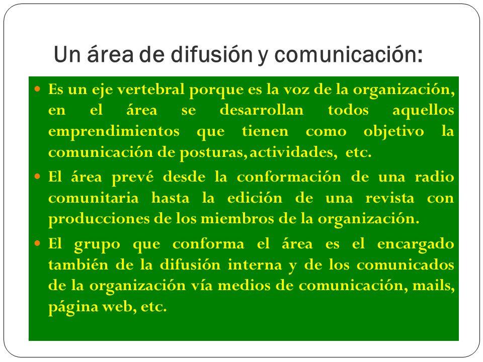 Un área de difusión y comunicación: Es un eje vertebral porque es la voz de la organización, en el área se desarrollan todos aquellos emprendimientos