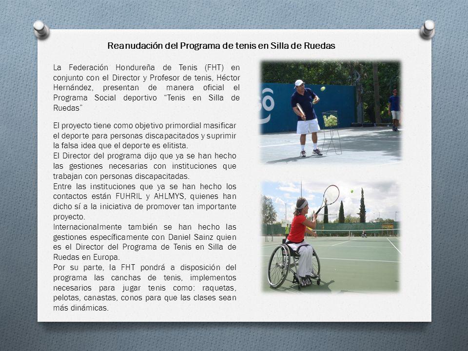 La Federación Hondureña de Tenis (FHT) en conjunto con el Director y Profesor de tenis, Héctor Hernández, presentan de manera oficial el Programa Soci