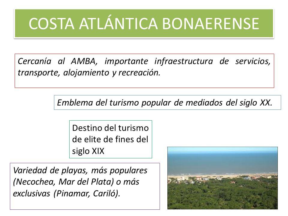 COSTA ATLÁNTICA BONAERENSE Cercanía al AMBA, importante infraestructura de servicios, transporte, alojamiento y recreación. Destino del turismo de eli