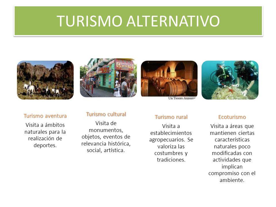 TURISMO ALTERNATIVO Turismo aventura Visita a ámbitos naturales para la realización de deportes. Turismo cultural Visita de monumentos, objetos, event