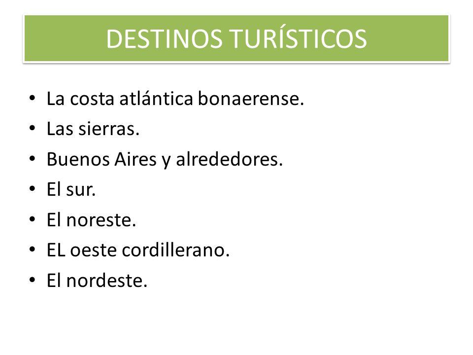 DESTINOS TURÍSTICOS La costa atlántica bonaerense. Las sierras. Buenos Aires y alrededores. El sur. El noreste. EL oeste cordillerano. El nordeste.
