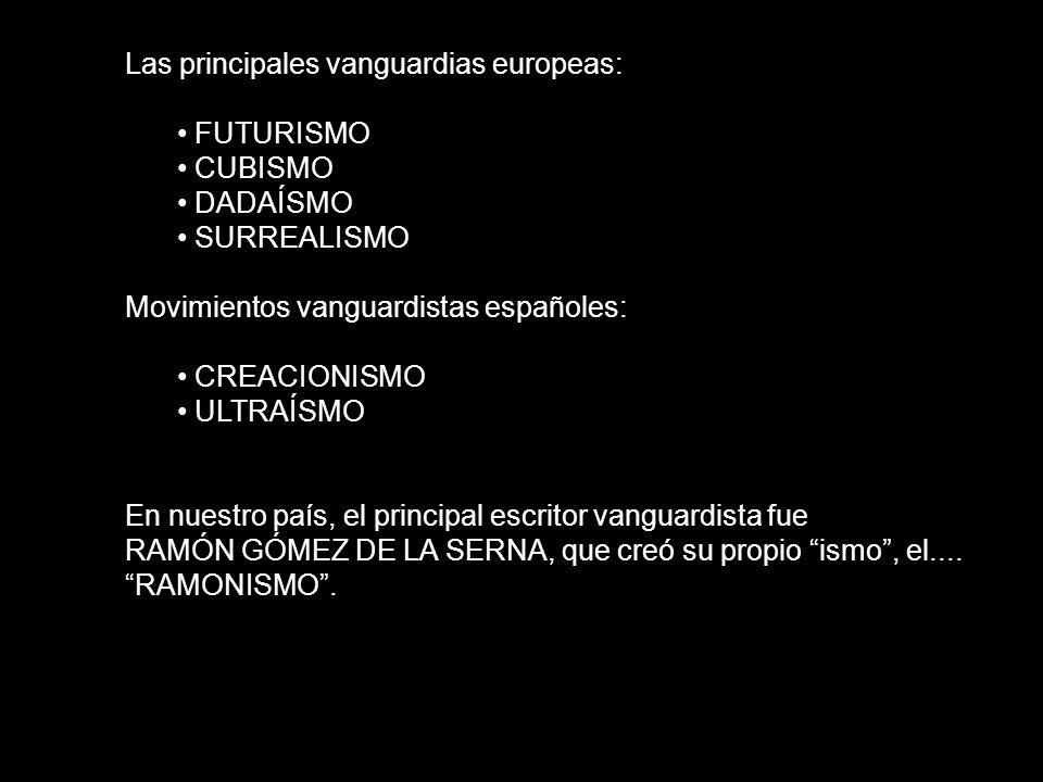 Las principales vanguardias europeas: FUTURISMO CUBISMO DADAÍSMO SURREALISMO Movimientos vanguardistas españoles: CREACIONISMO ULTRAÍSMO En nuestro pa