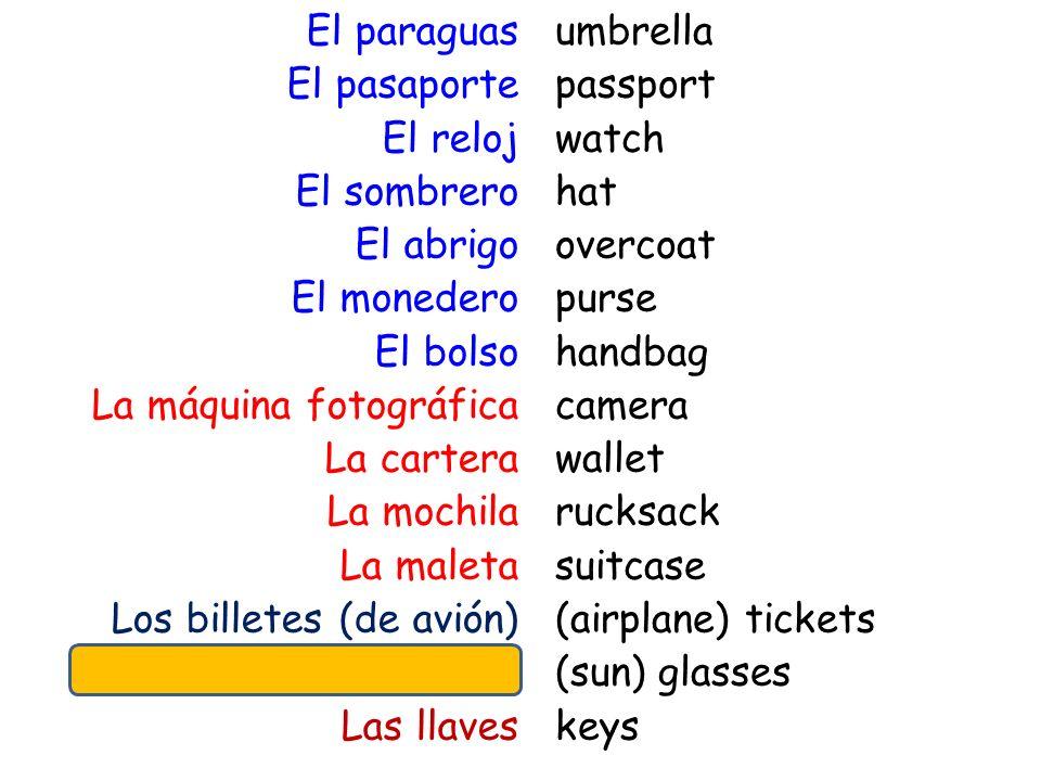El paraguas El pasaporte El reloj El sombrero El abrigo El monedero El bolso La máquina fotográfica La cartera La mochila La maleta Los billetes (de a