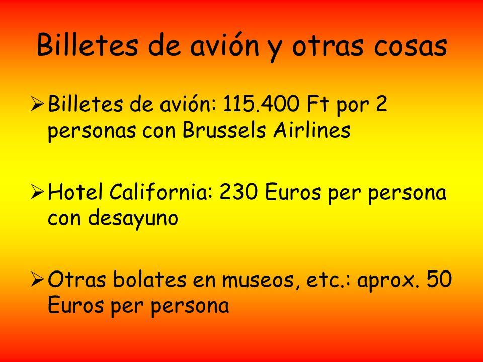 Billetes de avión y otras cosas Billetes de avión: 115.400 Ft por 2 personas con Brussels Airlines Hotel California: 230 Euros per persona con desayun