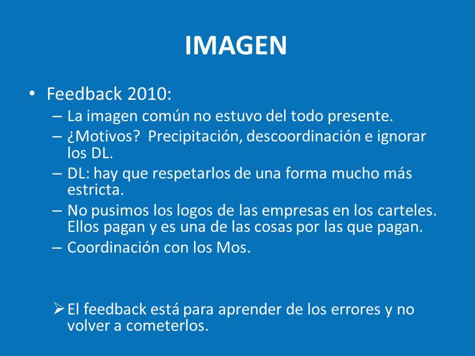 IMAGEN Feedback 2010: – La imagen común no estuvo del todo presente. – ¿Motivos? Precipitación, descoordinación e ignorar los DL. – DL: hay que respet