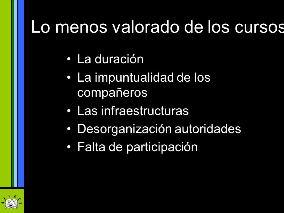 Lo menos valorado de los cursos La duración La impuntualidad de los compañeros Las infraestructuras Desorganización autoridades Falta de participación