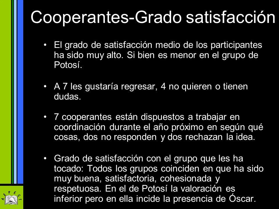 Cooperantes-Grado satisfacción El grado de satisfacción medio de los participantes ha sido muy alto. Si bien es menor en el grupo de Potosí. A 7 les g