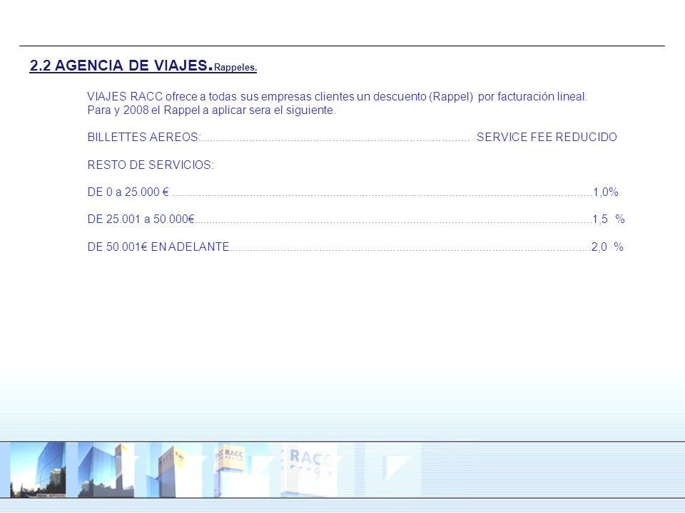 2.2 AGENCIA DE VIAJES. Rappeles. VIAJES RACC ofrece a todas sus empresas clientes un descuento (Rappel) por facturación lineal. Para y 2008 el Rappel