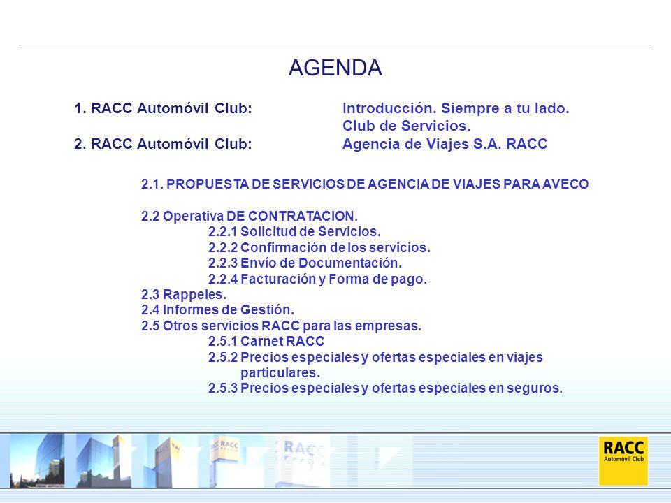 1. RACC Automóvil Club:Introducción. Siempre a tu lado. Club de Servicios. 2. RACC Automóvil Club:Agencia de Viajes S.A. RACC 2.1. PROPUESTA DE SERVIC