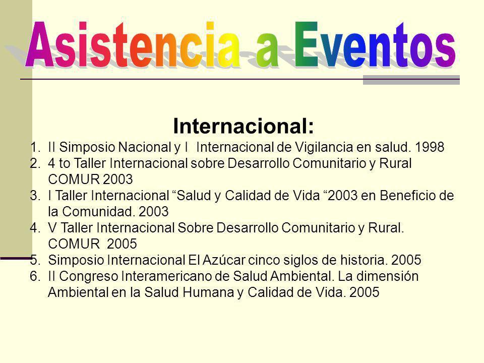 Internacional: 1.II Simposio Nacional y I Internacional de Vigilancia en salud. 1998 2.4 to Taller Internacional sobre Desarrollo Comunitario y Rural