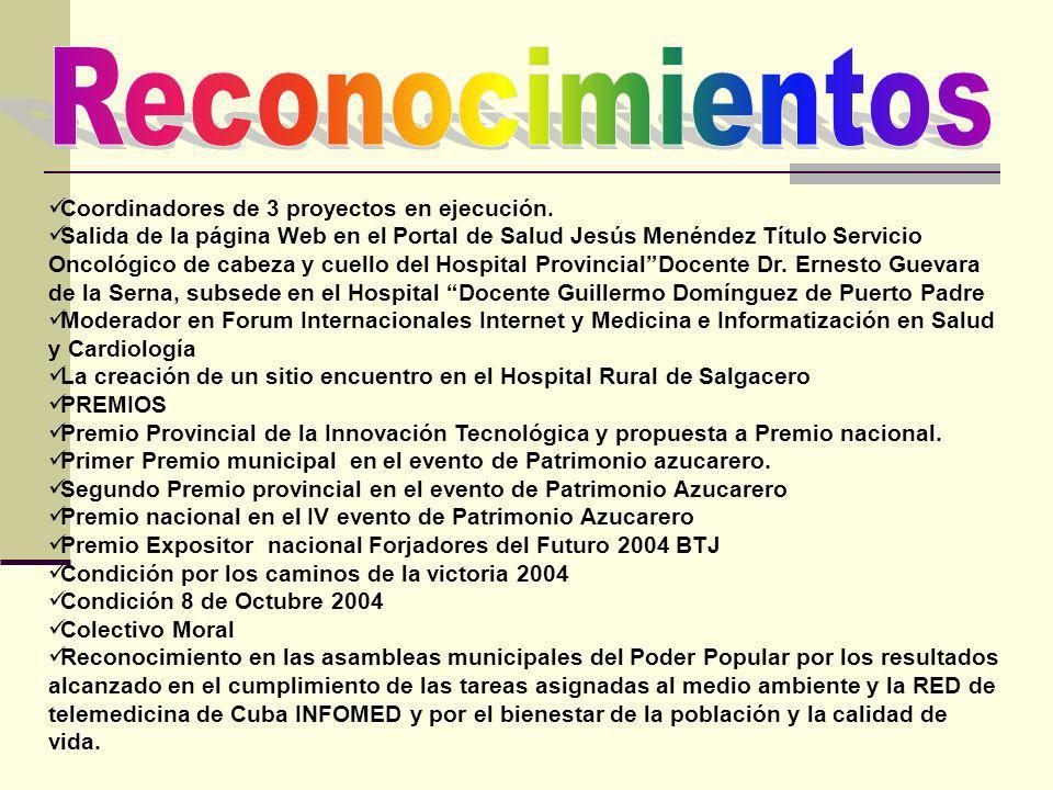 Coordinadores de 3 proyectos en ejecución. Salida de la página Web en el Portal de Salud Jesús Menéndez Título Servicio Oncológico de cabeza y cuello