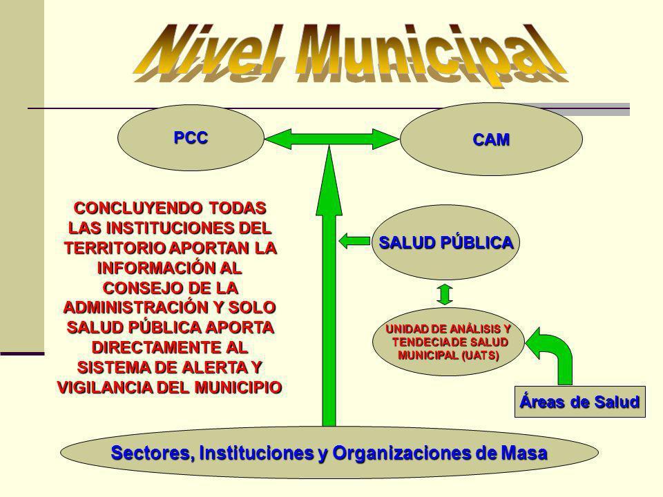PCC CAM Sectores, Instituciones y Organizaciones de Masa UNIDAD DE ANÁLISIS Y TENDECIA DE SALUD TENDECIA DE SALUD MUNICIPAL (UATS) SALUD PÚBLICA CONCL