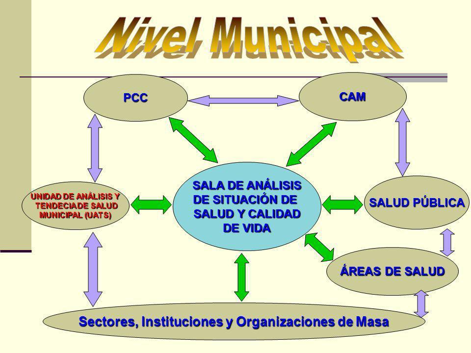 PCC CAM Sectores, Instituciones y Organizaciones de Masa UNIDAD DE ANÁLISIS Y TENDECIA DE SALUD TENDECIA DE SALUD MUNICIPAL (UATS) SALUD PÚBLICA SALA