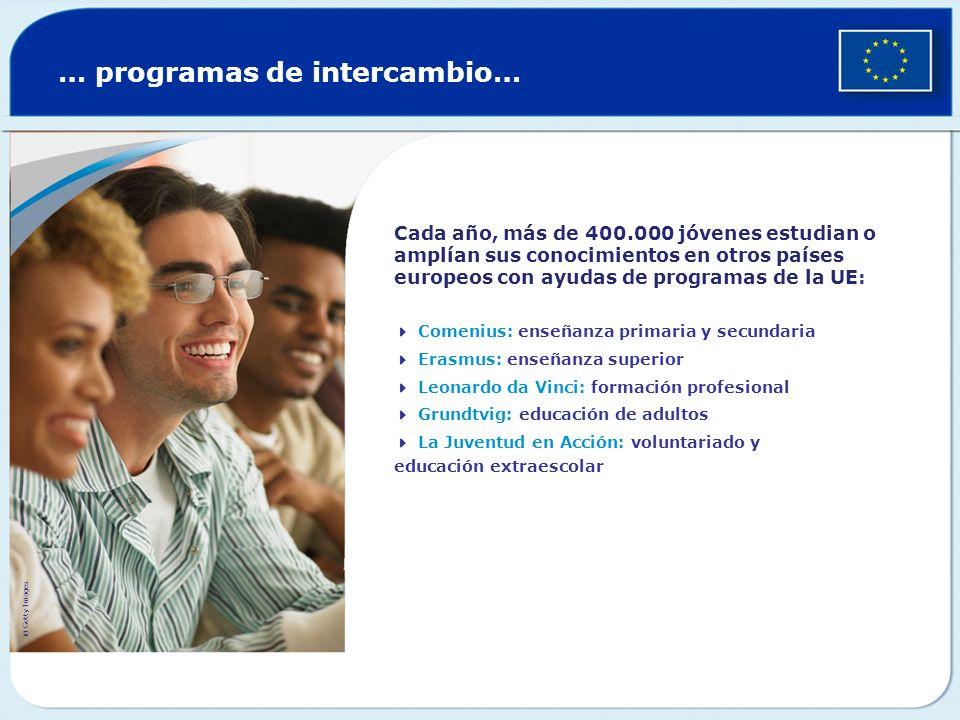 … programas de intercambio… Cada año, más de 400.000 jóvenes estudian o amplían sus conocimientos en otros países europeos con ayudas de programas de