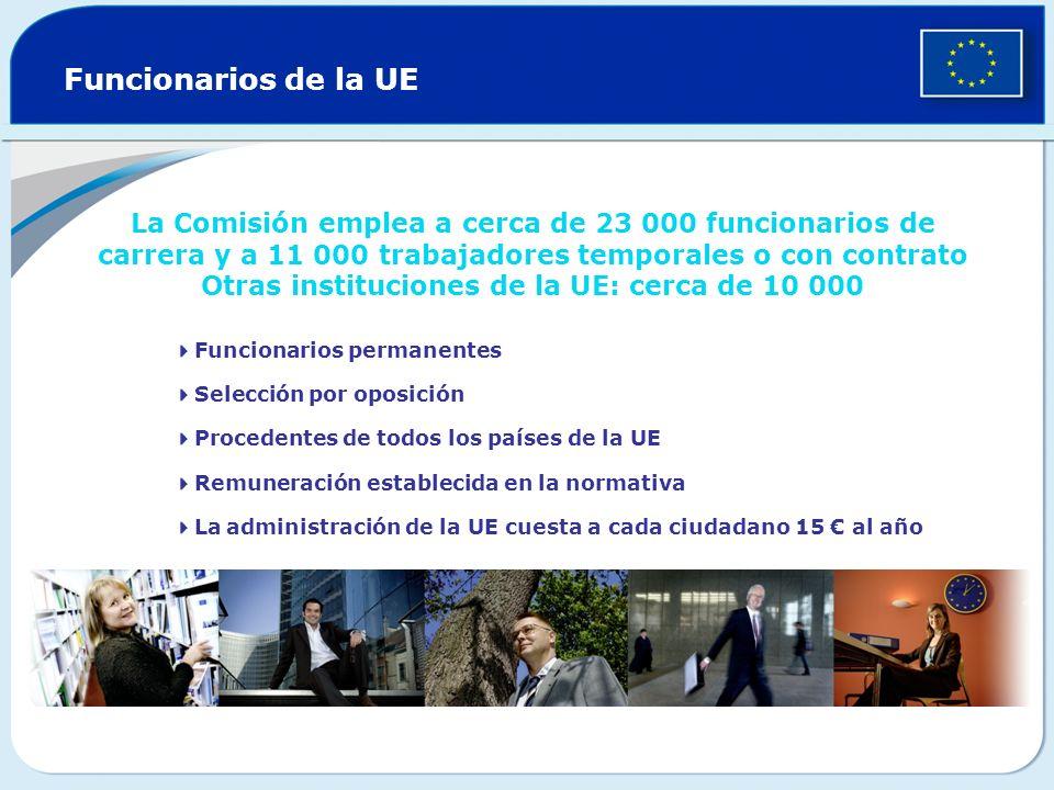 Funcionarios de la UE La Comisión emplea a cerca de 23 000 funcionarios de carrera y a 11 000 trabajadores temporales o con contrato Otras institucion