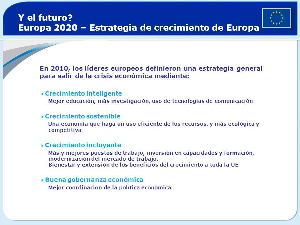 Y el futuro? Europa 2020 – Estrategia de crecimiento de Europa En 2010, los líderes europeos definieron una estrategia general para salir de la crisis