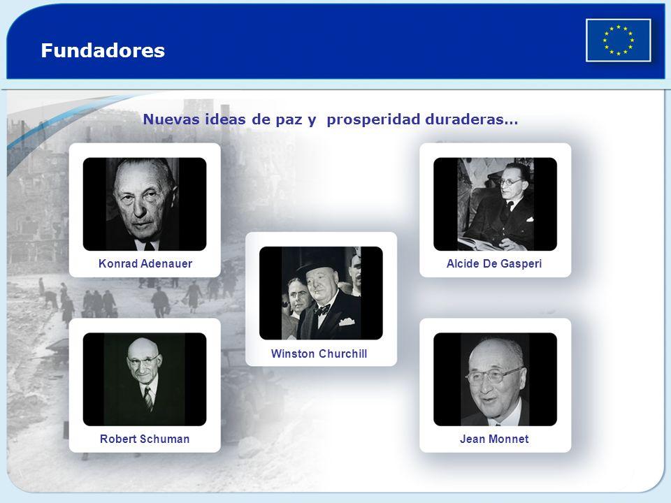 Fundadores Nuevas ideas de paz y prosperidad duraderas… Konrad Adenauer Robert Schuman Winston Churchill Alcide De Gasperi Jean Monnet