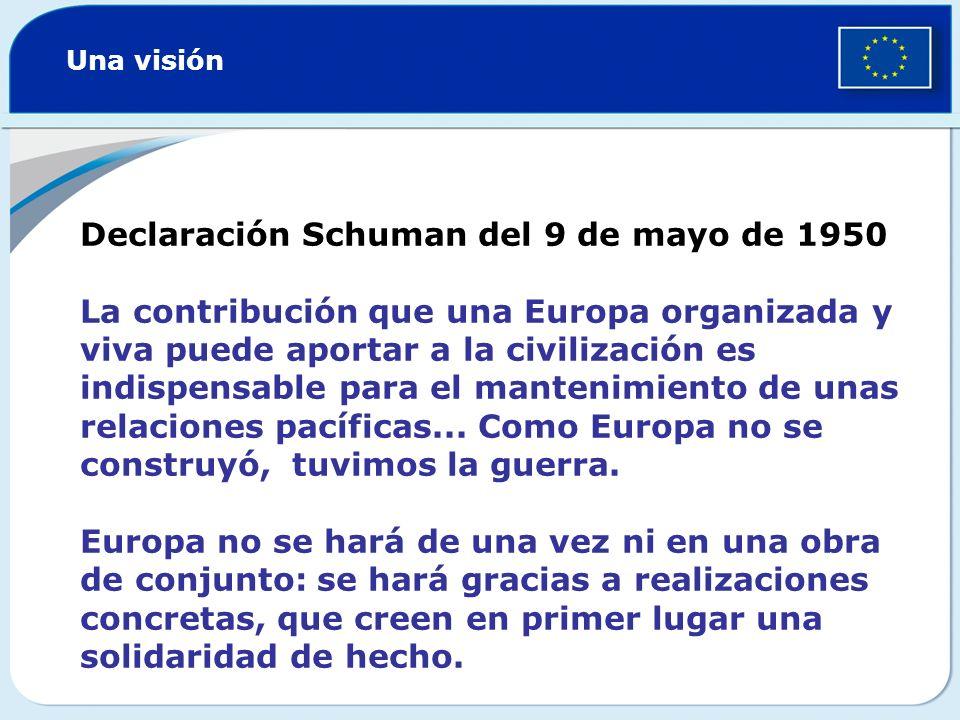 Schuman proponía la creación de una comunidad franco-alemana para aprovechar conjuntamente el carbón y el acero de los dos países Una vez en funcionamiento, se ampliaría la comunidad a otros países europeos para formar un espacio de libre circulación de personas, mercancías y capital Este sistema cruzado de intereses evitaría la posibilidad de una nueva guerra Una estrategia