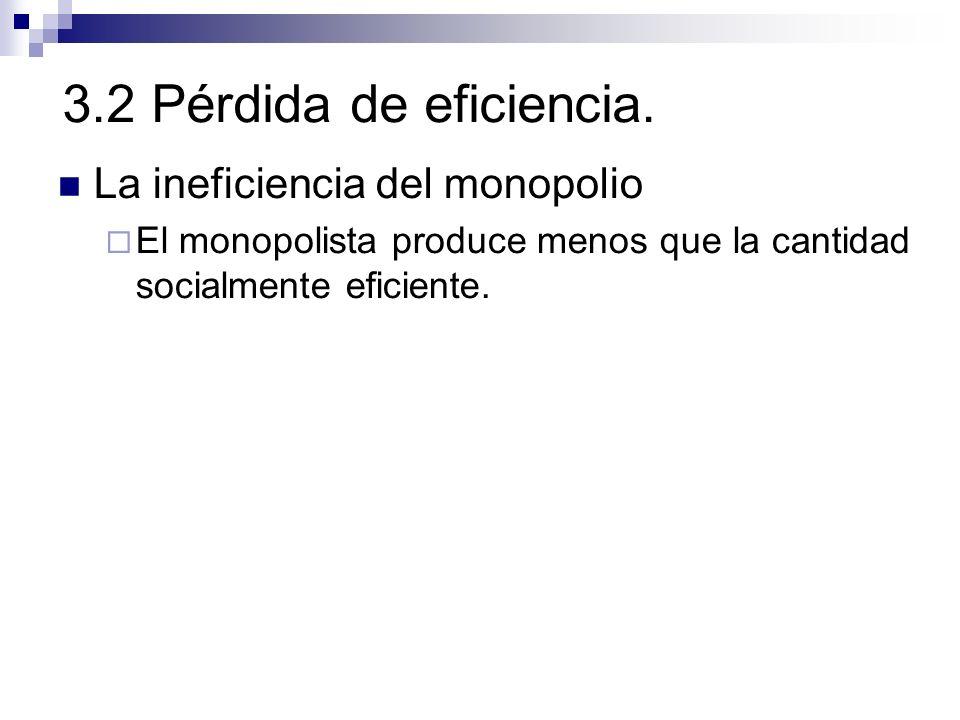 3.2 Pérdida de eficiencia. La ineficiencia del monopolio El monopolista produce menos que la cantidad socialmente eficiente.