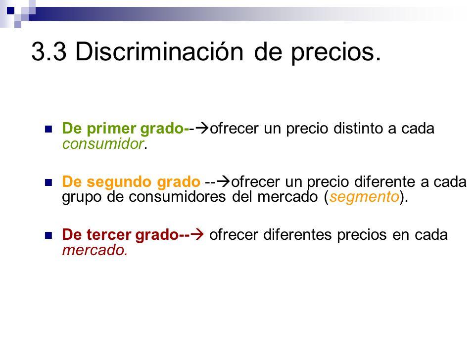 3.3 Discriminación de precios. De primer grado-- ofrecer un precio distinto a cada consumidor. De segundo grado -- ofrecer un precio diferente a cada