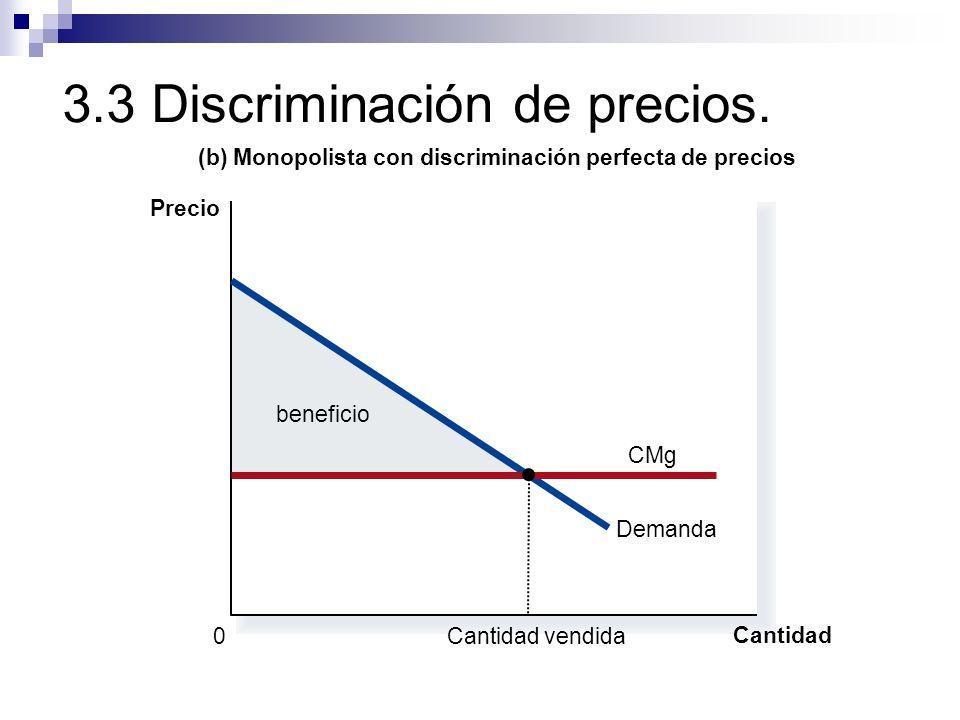 3.3 Discriminación de precios. beneficio (b) Monopolista con discriminación perfecta de precios Precio 0 Cantidad Demanda CMg Cantidad vendida