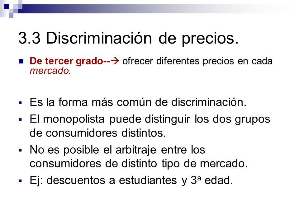 Es la forma más común de discriminación. El monopolista puede distinguir los dos grupos de consumidores distintos. No es posible el arbitraje entre lo
