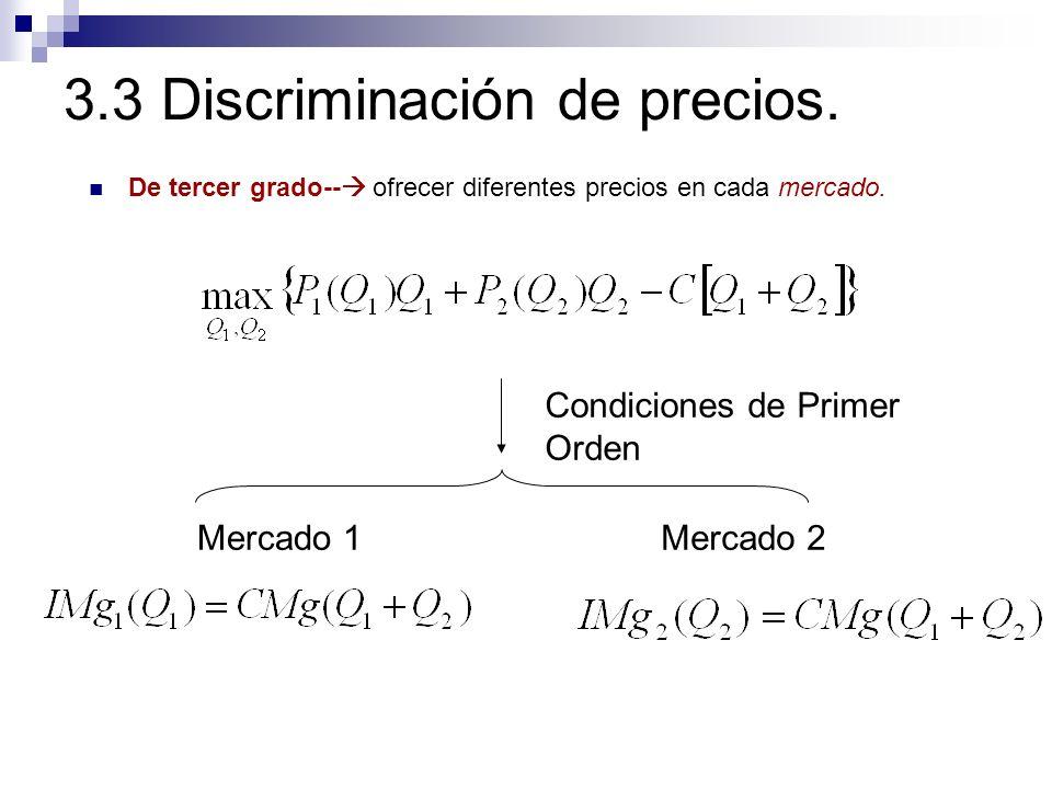 Mercado 1Mercado 2 Condiciones de Primer Orden 3.3 Discriminación de precios. De tercer grado-- ofrecer diferentes precios en cada mercado.