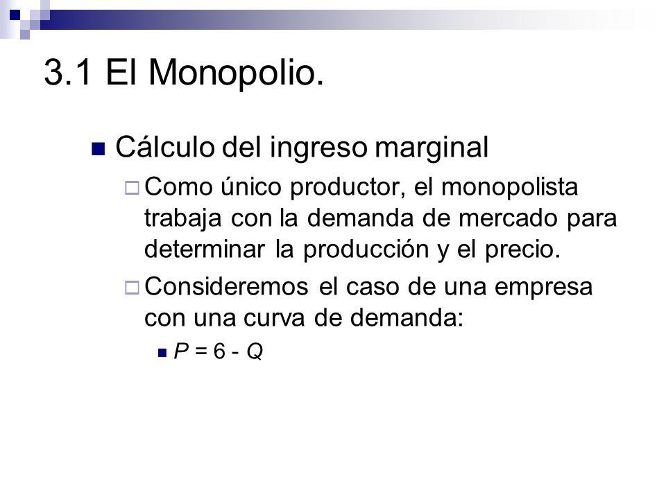 3.1 El Monopolio. Cálculo del ingreso marginal Como único productor, el monopolista trabaja con la demanda de mercado para determinar la producción y
