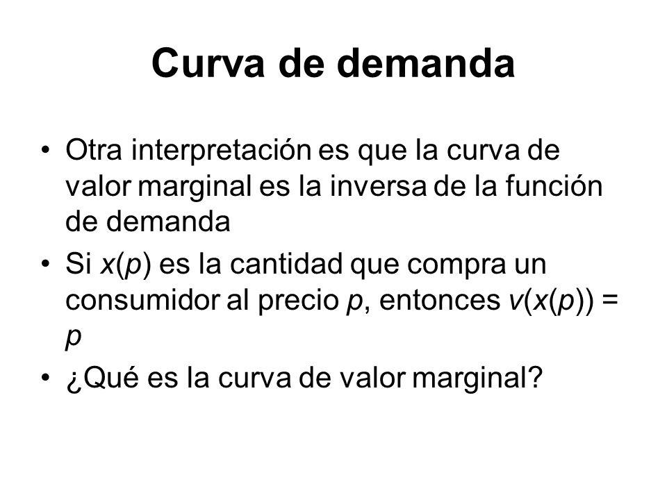 Otra interpretación es que la curva de valor marginal es la inversa de la función de demanda Si x(p) es la cantidad que compra un consumidor al precio